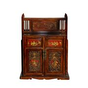 Vintage Chinese Fujian Golden Carving Wedding Trunk Cabinet Cs5857