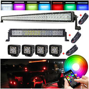 Rgb Off Road Led Light Bar 52inch + 22 + 4x 3and039and039 Halo Pods For Truck Suv 4x4 Atv