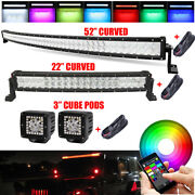 Rgb Curved Off Road Led Light Bar 52 Inch + 22 + 3 Rgb Halo Pods And Wiring Kits