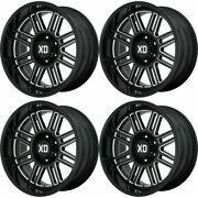 Set 4 22 Xd Xd850 Cage 22x10 Gloss Black Milled 5x5.0 Wheels -18mm Lifted Truck