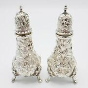 Vintage Kirk Repousse Salt And Pepper Shakers 1925-1932 Floral