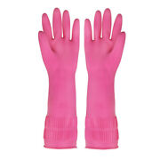 Reusable Pink Waterproof Rubber Latex Gloves For Kitchen/cleaning/gardening