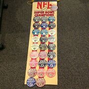 Nfl Superbowl Pin Button Collection Hanging Banner 1-24 With 27 Pins 1967-1992
