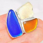 Charles Albert Sterling Silver Blue Orange And Clear Beach Glass Ring Adjustabl