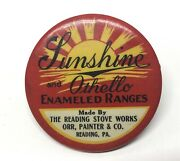 Antique 1920s Advertising Sunshine Othello Stoves Reading Pa. Red Pocket Mirror