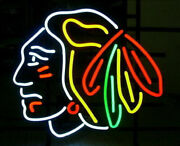 Stanley Cup Chicago Blackhawks Hockey 20x16 Neon Sign Light Lamp With Dimmer