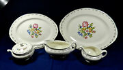 7- Serving Pieces Of Homer Laughlin Pat. N1458 Floral Petit Point China