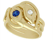 Antique Sapphire And Diamond 18k Yellow Gold Gentand039s Snake Ring European