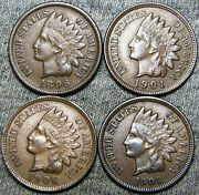 1896 1901 1906 1908 Indian Cent Penny --- Nice Lot --- D436
