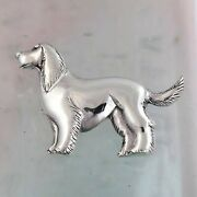 Solid 925 Sterling Silver Dog Brooch Setter Pin Hunting Jewelry Canine Badges.