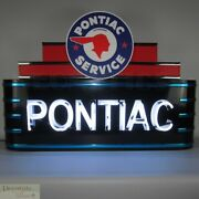 Pontiac Service Marquee Art Deco Neon Sign 39 Wall Window Steel Can Housing New