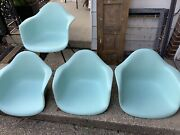 Herman Miller Charles Eames Plastic Arm Shell Chairs Light Blue