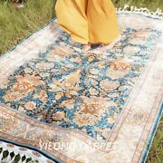 Yilong 4.3and039x6.2and039 Antique Handmade Silk Rug All Over Hand Knotted Carpet 1713