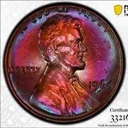 1964-d Lincoln 1c Pcgs Ms64bn Stunning 2-sided Rainbow Toner Mikesartifacts