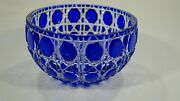 Rare Fabergandeacute Cut To Clear Crystal Russian Imperial Court Cobalt Blue Bowl