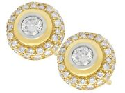 Vintage Circa 1960 0.88ct Diamond And 18k Yellow Gold Cluster Earrings