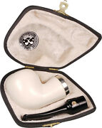 Altinay Handcut Block Meerschaum Smooth Reverse Army Calabash 9mm Pipe /sterling