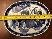 Dynasty Blue And White Porcelain Dragon Plate Chinese Antique Pointing