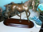 """Maitland Smith Horse Statue Bronze In A Hand Made Wood Stand, 16""""wide X 14"""" H"""