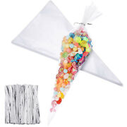 Cone Bag Clear Cello Popcorn Bags 4 By 8 Inch Triangle Treat Bags W/twist Ties