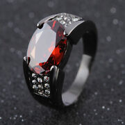 Menand039s Rings Elegant 18k Black Gold Filled With Solitaire Amethyst Ring With Ruby