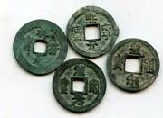 Lot Of 4 Unsorted 1-cash Coins Northern Song Dynasty 960-1127 Ad China