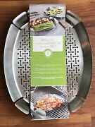 Bbq Grill Baskets Pans Set Of 2 Stainless Steel