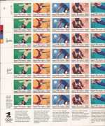 Us Stamp - 1992 Summer Olympics - 35 Stamp Sheet -  2637-41