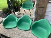 Herman Miller Charles Eames Plastic Arm Shell Chairs Forest Green