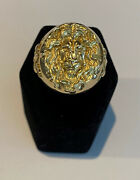 The Lion King Ring In 14k Yellow Gold, Made And Cast In Usa