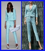 Resort 2014 Look 10 New Versace Blue Stretch Cotton Pant Suit 38 - 2
