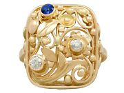 Vintage 0.10 Ct Sapphire And 0.20 Ct Diamond 14k Yellow Gold Dress Ring 1940s