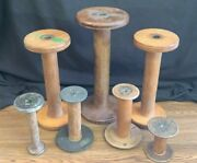 Lot Of 7 Vintage Wooden Thread Spools Industrial Sewing Spools