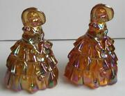 2 Pair Wheaton Marigold Carnival Glass Southern Belle Colonial Ladies Figurines