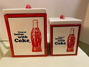 Coca Cola Pacific Enterprises Canister Set Of 2 Porcelain With Seal
