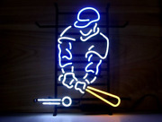 Baseball Player Neon Sign Lamp Light 17x14 Beer Bar With Dimmer