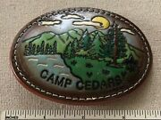 Vintage Camp Cedars Boy Scout Leather Belt Buckle Bsa Twill Mid America Council