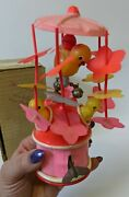 Vintage 1940and039s Japan Celluloid Wind-up Mechanical Spinning Chicks Toy In Box