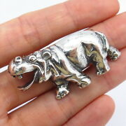 925 Sterling Silver Smiley Friendly Hippo Pin Brooch