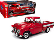 1957 Chevrolet Cameo Pickup Truck Cardinal Red And White 1/18 Diecast Model Car