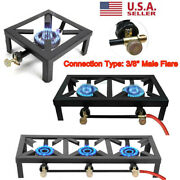 Double/single Burner Cast Iron Propane Gas Stove Outdoor Camping Bbq Cooker