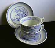 Vintage Antique Furnivals Blue Quail Pattern Two 2 Cup And Saucer Sets