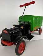 Rare 1920and039s Keystone Pressed Steel And039packardand039 Police Patrol Ride-on Toy Restored