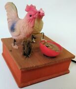 Celluloid Early Toy Pre War Japanese Mechanical Pecking Chickens Toy