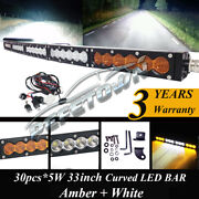 32inch Curved Led Light Bar Spot Flood Combo Off Road Suv Atv Marine Pickup 34and039and039
