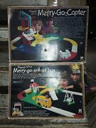 1976-78 Playrail Tomy Merry Go Copter And School Bus