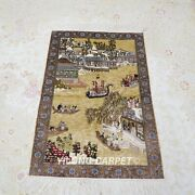Yilong 2and039x3and039 Handknotted Silk Tapestry Dragon Boat Race Oriental Rug L032h