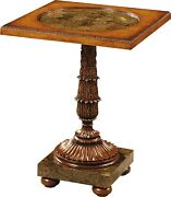 Scarborough House Occasional Table Myrtle Burl Opulent Golden Agate Stone