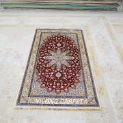 Yilong 3and039x5.4and039 Red Handmade Silk Rug Antique Home Interior Carpet Tj149a