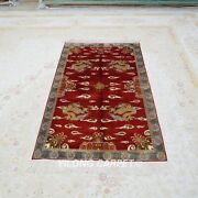 Yilong 3and039x5and039 Handknotted Silk Carpet Dragons Pictorial Red Classic Rug L014h